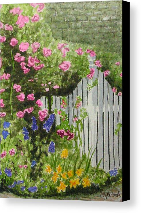 Garden Canvas Print featuring the painting Garden Gate by Ally Benbrook