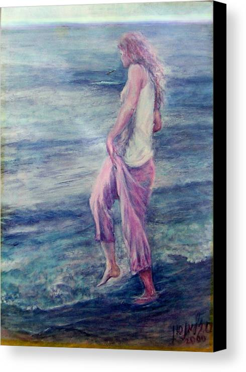 Figurative Canvas Print featuring the painting Girl At The Beach by Sylva Zalmanson