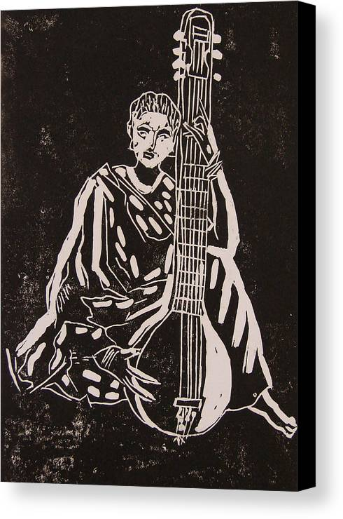 Girl Canvas Print featuring the painting Girl Learning Sitar by Madhurima Bidkar
