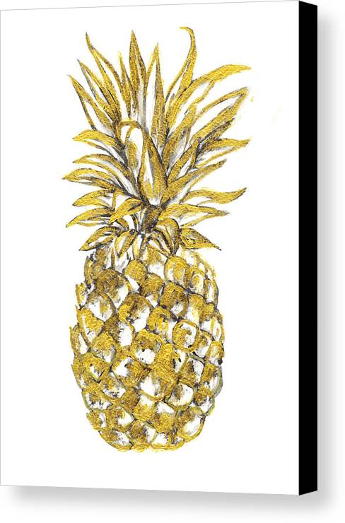 Gold Pineapple Print Canvas Featuring The Painting By Del Art