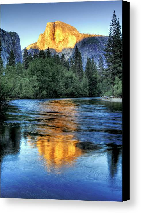 Vertical Canvas Print featuring the photograph Golden Light On Half Dome by Mimi Ditchie Photography