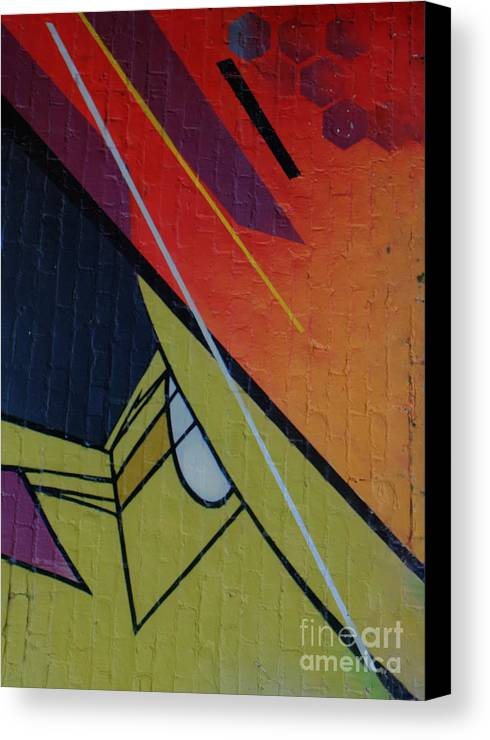 Abstract Canvas Print featuring the photograph Graffiti Wall by Dorothy Hilde