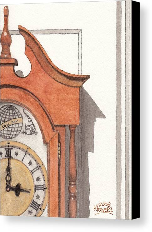 Watercolor Canvas Print featuring the painting Grandfather Clock by Ken Powers