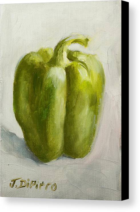 Green Canvas Print featuring the painting Green Bell Pepper by Joni Dipirro