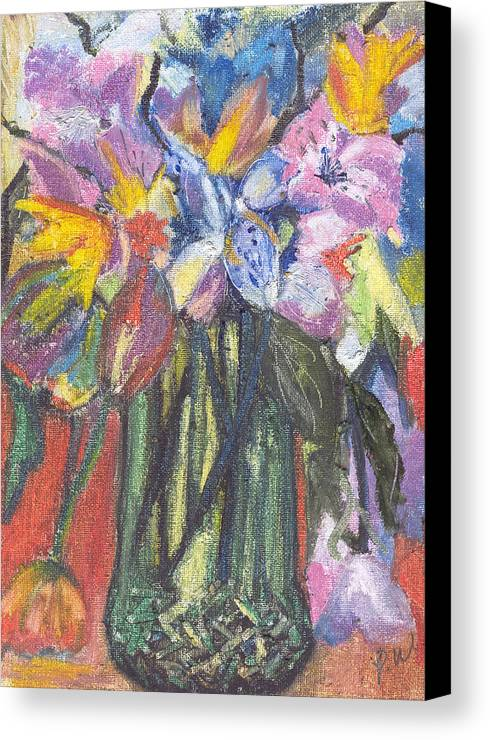 Oil Pastels Canvas Print featuring the painting Green Vase by Pamela Wilson