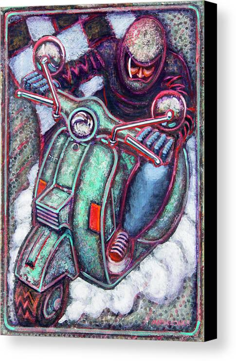 Scooter Canvas Print featuring the painting Green Vespa by Mark Jones
