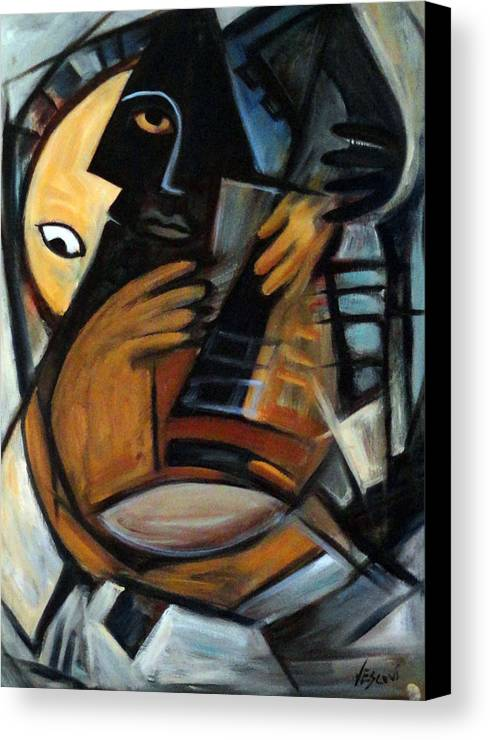 Cubism Canvas Print featuring the painting Guitarist by Valerie Vescovi