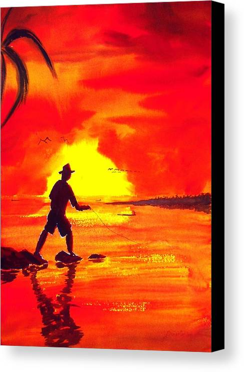 Seascape Canvas Print featuring the painting Hand Line Fisherman by Buster Dight