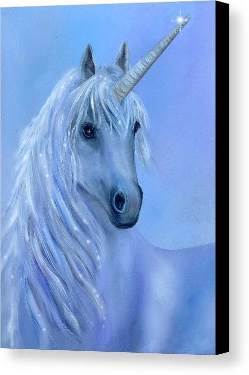 Unicorn Canvas Print featuring the painting Healing Unicorn by Sundara Fawn
