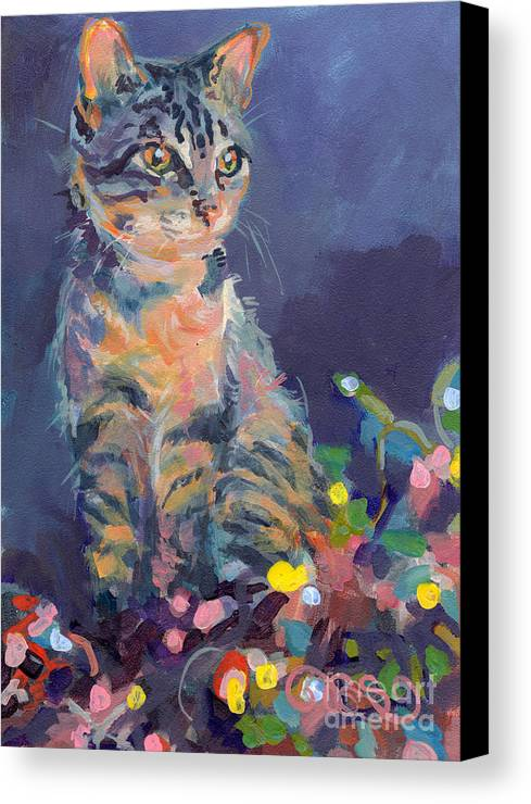 Gray Tabby Canvas Print featuring the painting Holiday Lights by Kimberly Santini