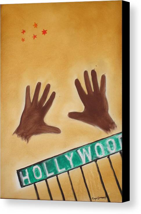 Cinema Film Canvas Print featuring the painting Hollywood by Roger Cummiskey