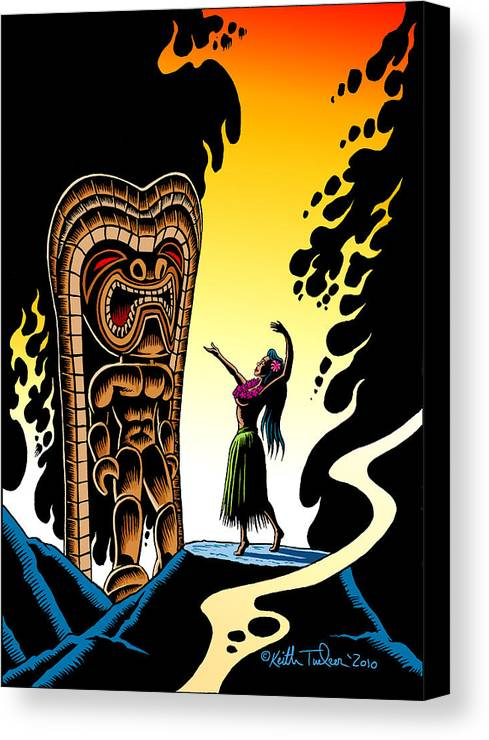 Tiki Canvas Print featuring the drawing Homage To Tiki by Keith Tucker
