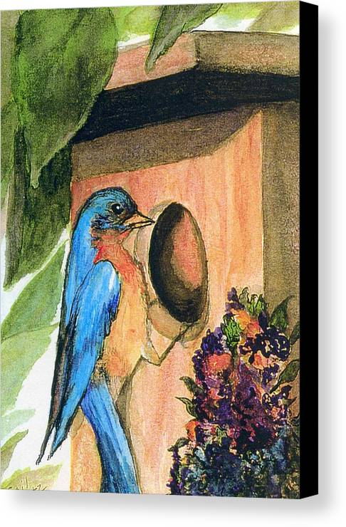Bluebirds Canvas Print featuring the painting Home Sweet Home by Gail Kirtz