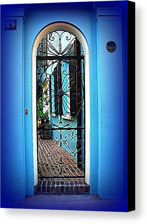 House Door Canvas Print featuring the photograph House Door 4 In Charleston Sc by Susanne Van Hulst
