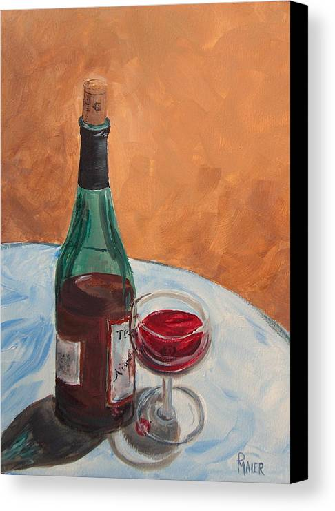 Still Life Canvas Print featuring the painting I Drink Alone by Pete Maier