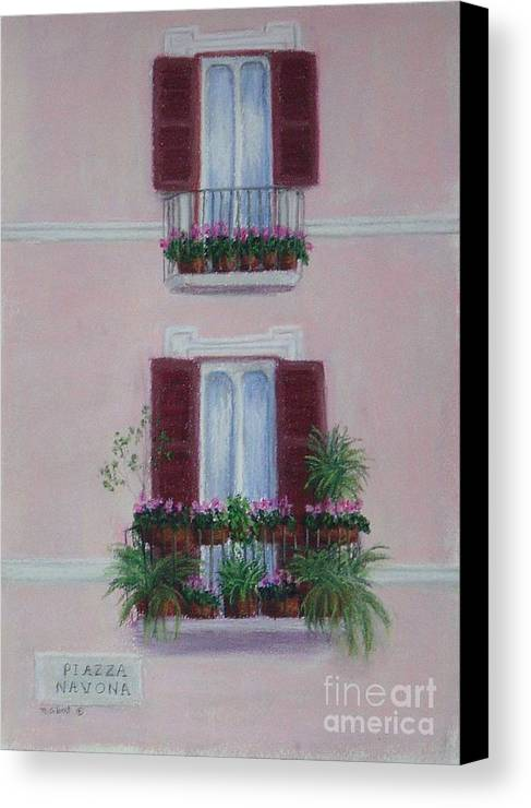 Window Boxes Canvas Print featuring the painting Il Terrazo In Roma Piazza Navona by Mary Erbert