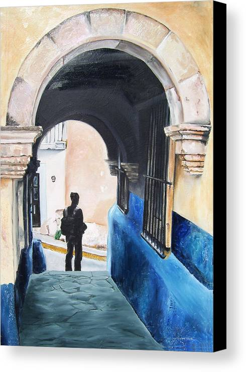 Archway Canvas Print featuring the painting Ivan In The Street by Laura Pierre-Louis