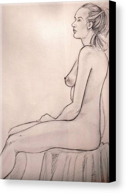 Female Nude Drawing Figure Study Canvas Print featuring the drawing J In Session by Hilary England