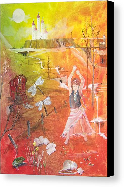 Gypsy Canvas Print featuring the painting Jayzen - The Little Gypsy Dancer by Jackie Mueller-Jones