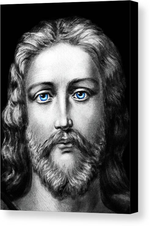 Jesus Christ Canvas Print featuring the photograph Jesus Blue Eyes by Munir Alawi