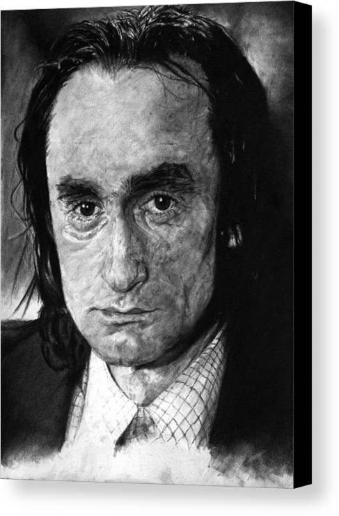 Portrait Man Men Charcoal Art Life Godfather Deer Hunter Dog Day Afternoon Gray Grey Tone John Actor Canvas Print featuring the drawing John Cazale by Priscilla Vogelbacher