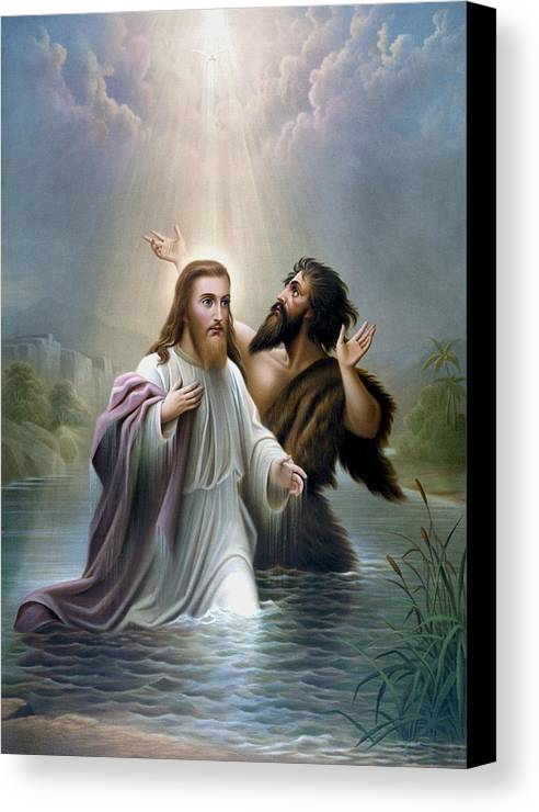 Jesus Canvas Print featuring the painting John The Baptist Baptizes Jesus Christ by War Is Hell Store