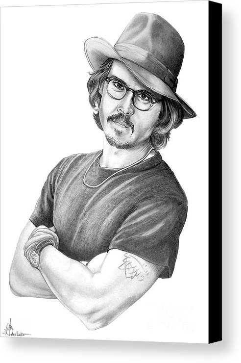 Johnny Depp Canvas Print featuring the drawing Johnny Depp by Murphy Elliott