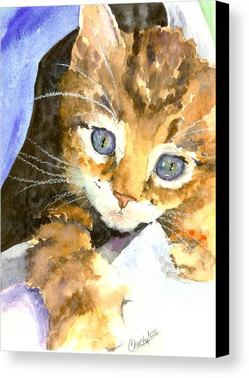 Cat Canvas Print featuring the painting Kitten In Blue by Christy Freeman
