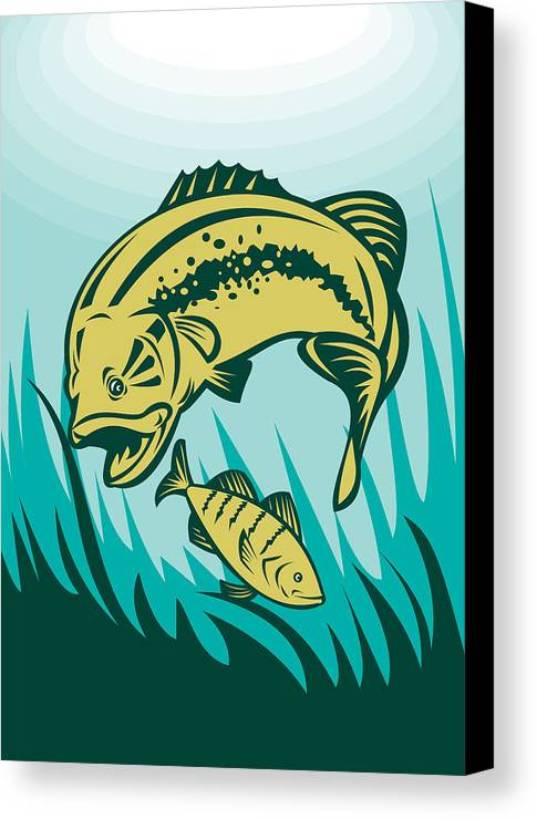 Largemouth Canvas Print featuring the digital art Largemouth Bass Preying On Perch Fish by Aloysius Patrimonio