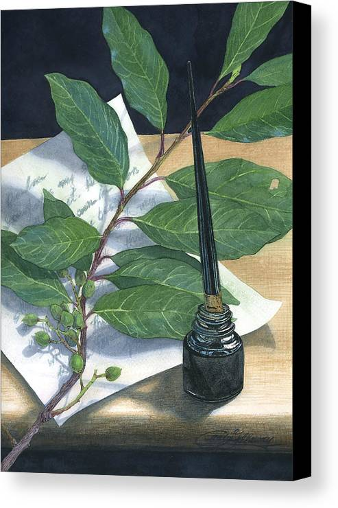 Leaves Canvas Print featuring the painting Laurel by Craig Gallaway