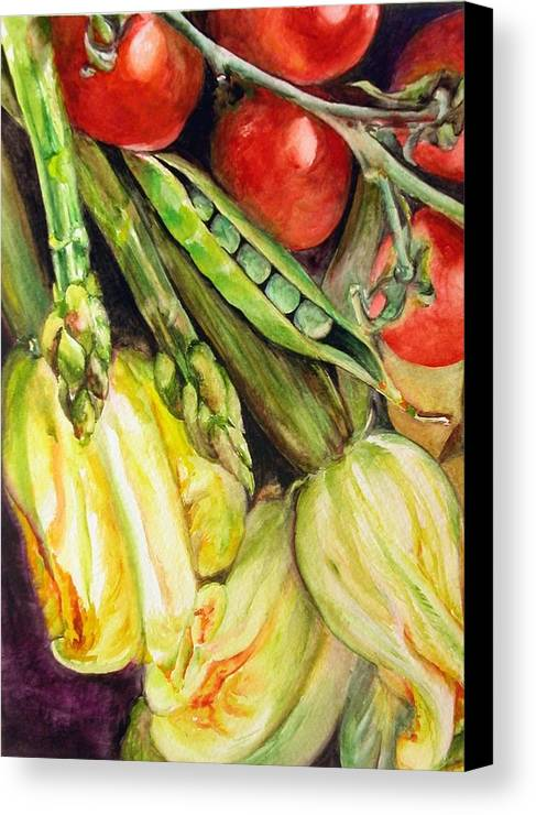 Still Life Canvas Print featuring the painting Legumes by Muriel Dolemieux