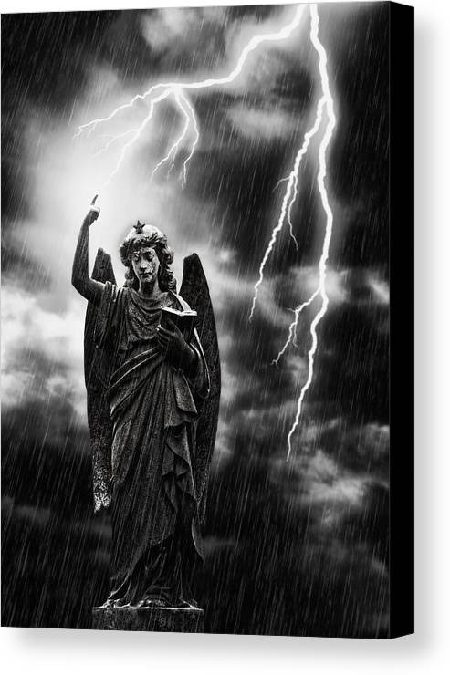 Religion Canvas Print featuring the photograph Lightning Strikes The Angel Gabriel by Amanda Elwell