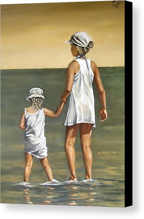 Little Girl Reflection Girls Kids Figurative Water Sea Seascape Children Portrait Canvas Print featuring the painting Little Sisters by Natalia Tejera