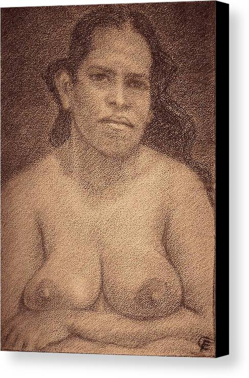 Goan Woman Canvas Print featuring the drawing Luisa by Claudio Fiori