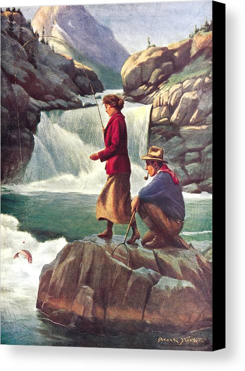 Phillip Goodwin Canvas Print featuring the painting Man And Woman Fishing by JQ Licensing