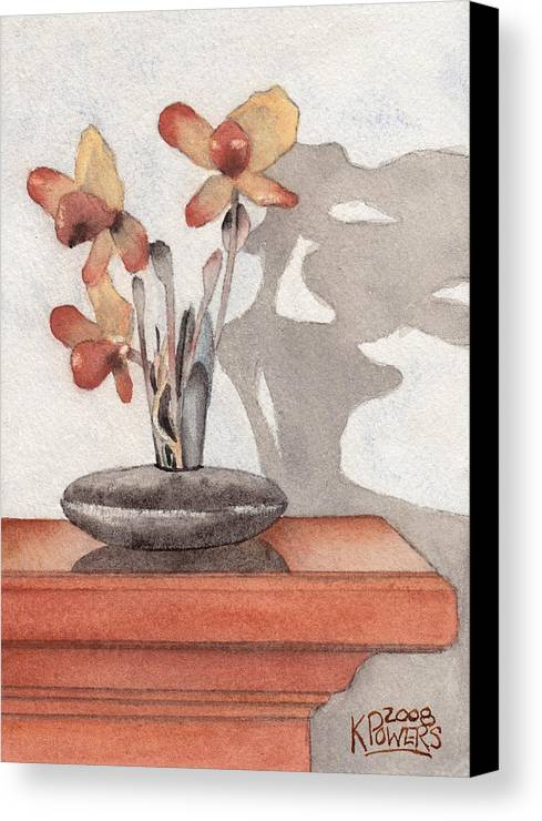 Flower Canvas Print featuring the painting Mantel Flowers by Ken Powers