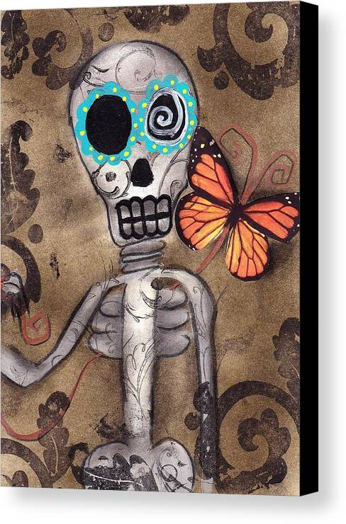 Day Of The Dead Canvas Print featuring the painting Marias Butterfly by Abril Andrade Griffith