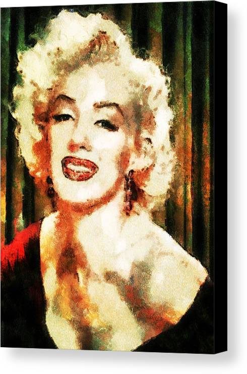 Famous Canvas Print featuring the digital art Marilyn Monroe by Charmaine Zoe