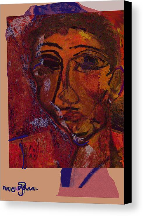 Portrait Canvas Print featuring the painting Mask 14 by Noredin Morgan