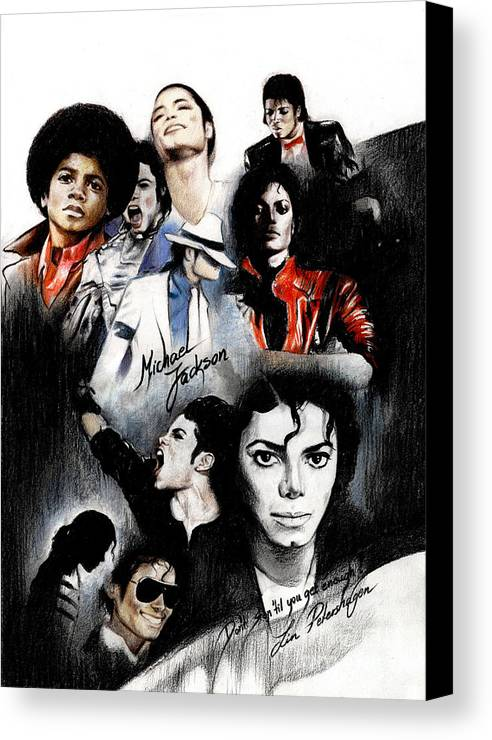 Lin Petershagen Canvas Print featuring the drawing Michael Jackson - King Of Pop by Lin Petershagen