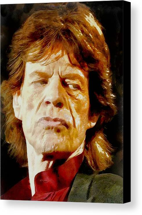 Portrait Canvas Print featuring the digital art Mick Jagger by Charmaine Zoe