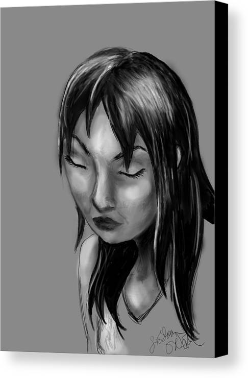 Girl Canvas Print featuring the digital art Moment Of Weakness by Siobhan Yost