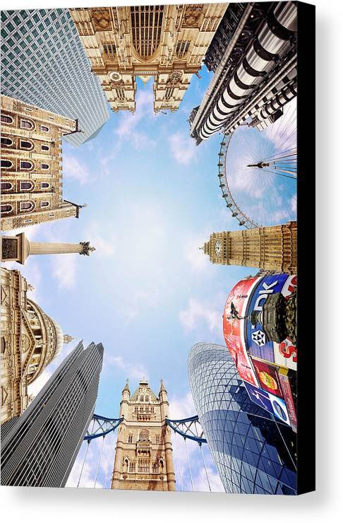 Montage Picture Of London Landmarks View From Below