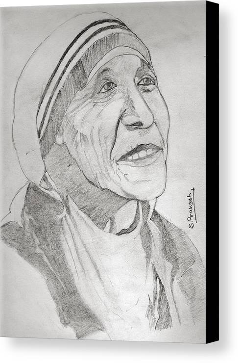 Indian Canvas Print featuring the drawing Mother Teresa by SP Singh