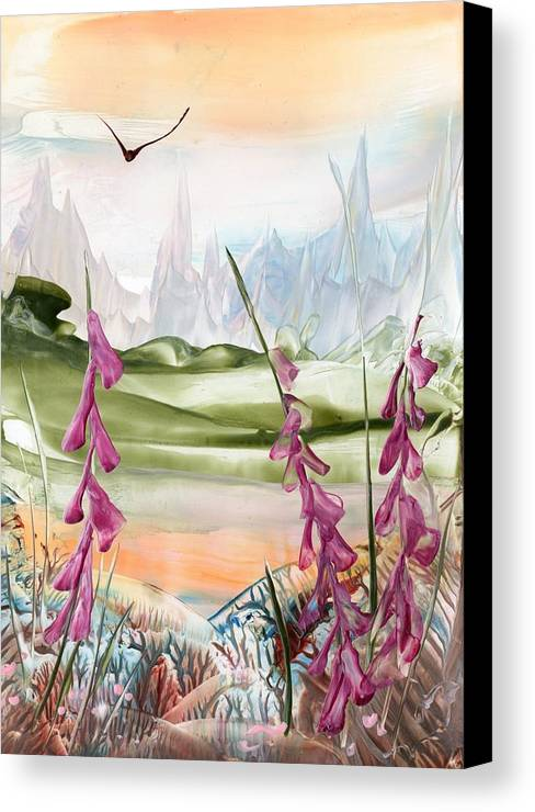 Encaustic Canvas Print featuring the painting Mountains by Marketa Cejkova