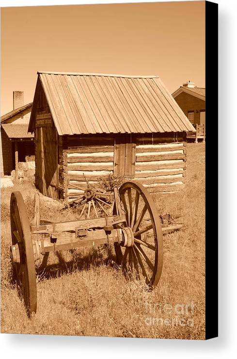 Sepia Canvas Print featuring the photograph Murdock Carriage House - Circa 1800's by Dennis Hammer