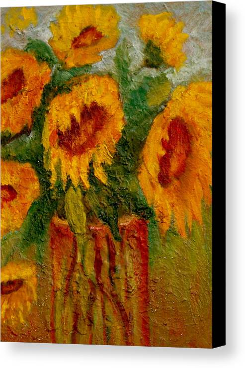 Flowers/sunflower/bouquet Canvas Print featuring the painting My Sunshine by Marie Hamby