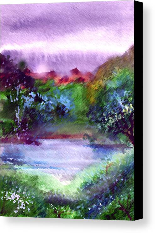 Lake Canvas Print featuring the painting Mystic Lake by Anil Nene