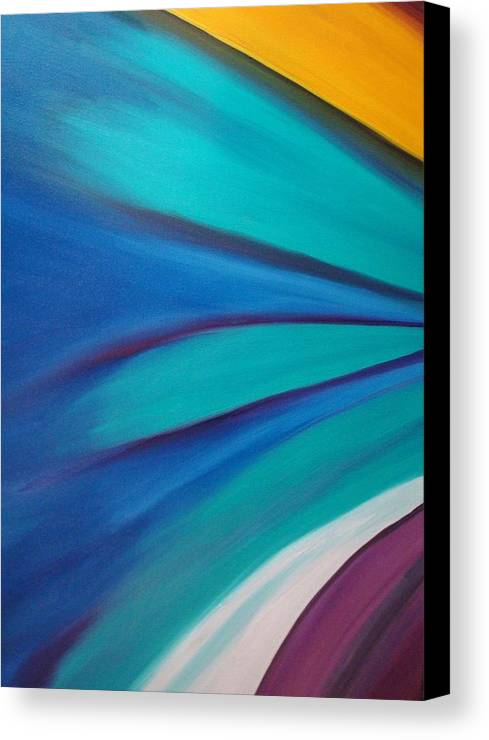 Abstract Car Speed Racers View-blue -yellow-nascar- Painting-oilpaintings-landscape-places Canvas Print featuring the painting Nascar At 200mph by Stephen Ponting