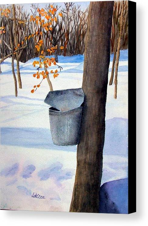 Sap Bucket. Maple Sugaring Canvas Print featuring the painting Nh Goldmine by Sharon E Allen